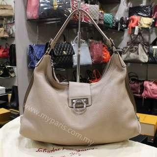 Salvatore Ferragamo Pebbled Calfskin Leather Fanisa Large Hobo Bag