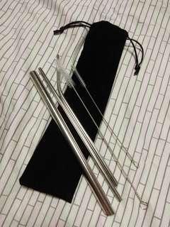 Pointed Edge Reusable Metal Straw Set