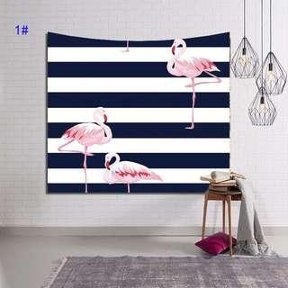 FLAMINGO STRIPE TAPESTRY WALL HANGING