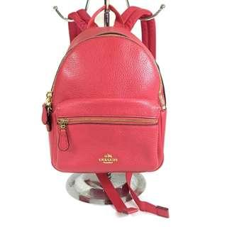 Coach Pink Pebbled Leather Mini Charlie Backpack