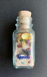🇺🇸🧲🐚 100%全新 美國USA 佛羅里達 Florida 貝殼玻璃樽磁鐵 Magnetic Shell Bottle 旅遊紀念品 Souvenir