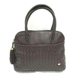 Bally Dark Brown Lamb Leather Hand Bag