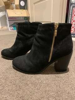 BETTS black suede ankle boots
