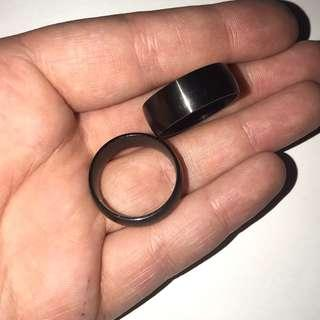 Pure Titanium Black Ring Set