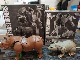 Transformers Beast Wars Takara Tomy LG EX Rhinox and Rattrap set. Mint condition. Back in Box