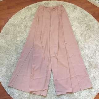 Pink Wide Leg Split Pants