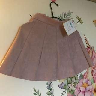 粉色麂皮褲裙