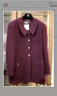 Vintage Chanel Plum Colour Wool Boucle Jacket Size FR40 Medium Length