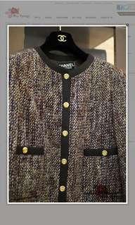 Vintage Chanel Brown/Beige/Burgundy Multi Coloured Tweed Jacket FR42