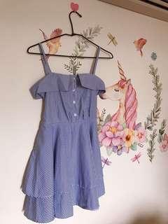 藍白條紋上衣 背後可綁蝴蝶結