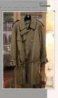 Vintage Chanel Military Green Silk Trench Coat 男女可穿