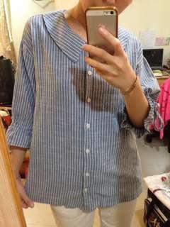 🚚 正韓條紋棉麻襯衫