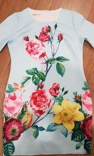 chinese light blue floral dress