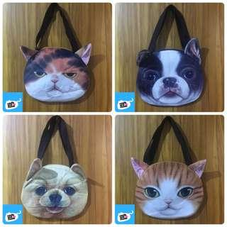 Cat and Dog Face Tote Bag