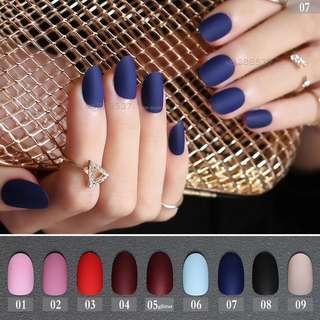 🚚 Matt Color Short Round Press On Nails 24s