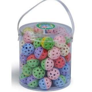 。╮♥寶貝咪嚕的家♥╭。彩色鈴鐺球-一桶/60顆~中小型鸚鵡的最愛