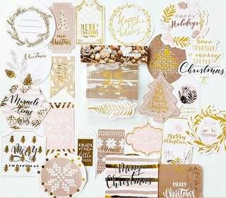 🚚 [In stock] 24 Pcs Christmas Stickers with gold embelishment