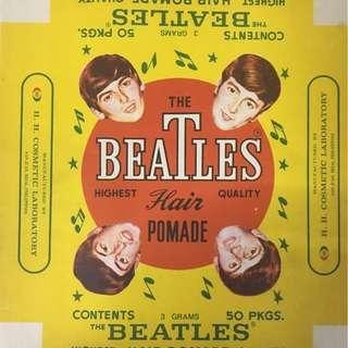 Frameable 1960's BEATLES Pomade Box Paper Label 8x9 MINT