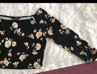 Forever21 floral long sleeve crop top