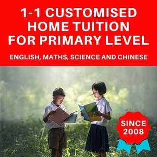 Primary Home Tutors | English Maths Mathematics Science Higher Chinese Art | Looking for PSLE Tuition Teacher |  Home Tuition Primary |  Full Time Private Tutor | Foundation Tuition Lesson | AEIS Private Tuition | One to One Home Tuition