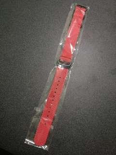 Red nylon 20mm nato strap with PVD black buckle