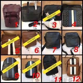 💝12.12 SALE! 💯% ORI Coach Men Handbag / Briefcase / Backpack / Chest Sling Bag / Crossbody / Clutch Series @ ALL Ready Stocks