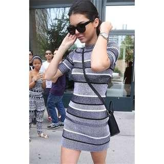 全新 僅1件 kendall Jenner 同款針織洋裝 厚感針織條紋連身裙