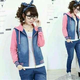 Jaket ladies chery jeans wash combi banyterry pink new