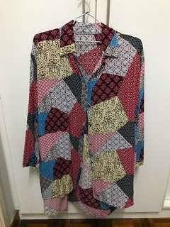 Button up collared pattern top
