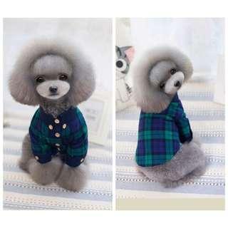🚚 韓版寵物格子襯衫薄款狗狗汪喵上衣貴賓吉娃娃瑪爾