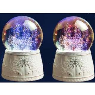 Crystal Music Box (Rotating, raining snowflakes with 7 colour LED lights) MP3 Bluetooth SD card