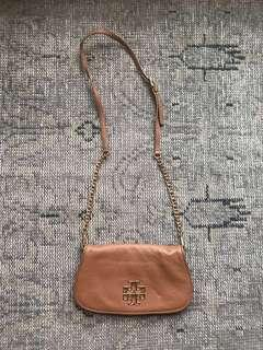 Tory Burch camel leather shoulder bag / purse