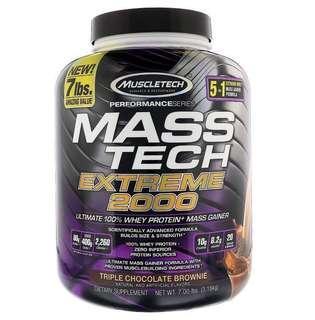 New 瘦仔恩物 Muscletech Mass Tech Extreme 2000 朱古力味 增重奶粉