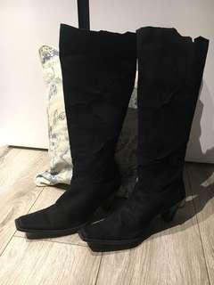 Nine West long suede boots with pattern