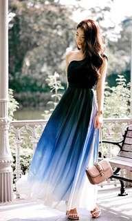 Ombré Midnight Blue Toga Dress