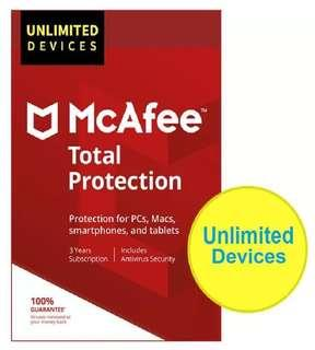 [ Unlimited PC ] Mcafee Total Protection 2018 - 1 Year / 2 Year / 3 Year
