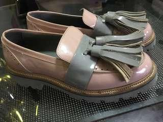 MSGM Patent Leather Tassel Loafers in Pink