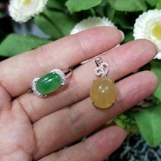 🙋客來精美翡翠💚旦玉比我代加工, 精緻設計款18K白金鑲嵌鑽石💎戒指😍