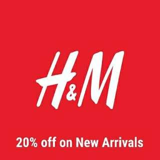PO H&M 20% off on New Arrivals