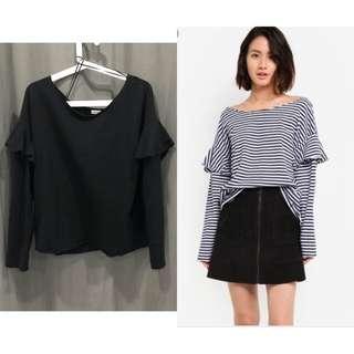 Cotton on Black ruffle sweater