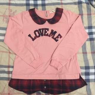 🚚 粉色假兩件長袖上衣