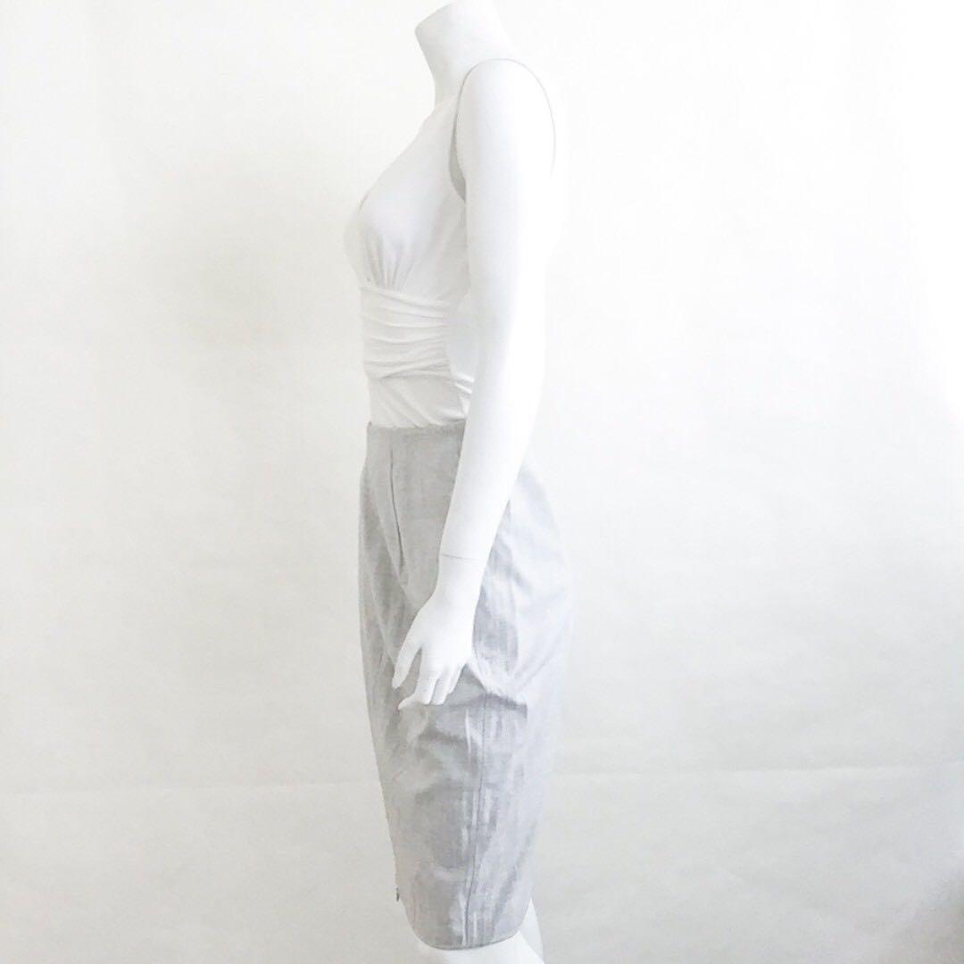 6f808c7b95 Auth DIVINA Italy Light Grey Zipper Lightweight Pencil Skirt IT 42 ...