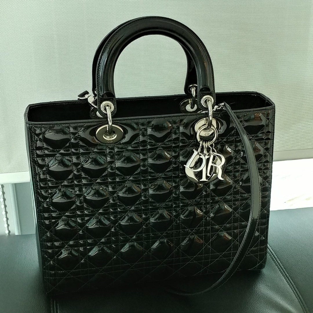 fd5d3bcdd650 Authentic Lady Dior Large Patent Bag