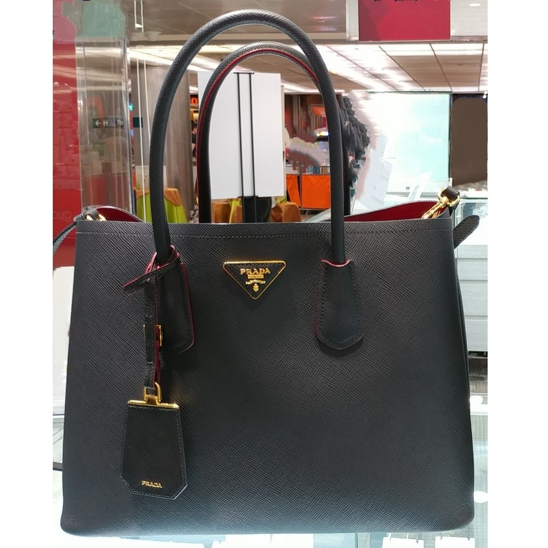 a28ac8322c37 Authentic Prada Saffiano Cuir Double bag, Luxury, Bags & Wallets ...