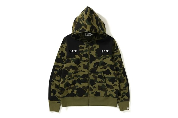 f91a8b7a4078 Bathing Ape 1ST CAMO PATCHED WIDE FULL ZIP HOODIE MENS