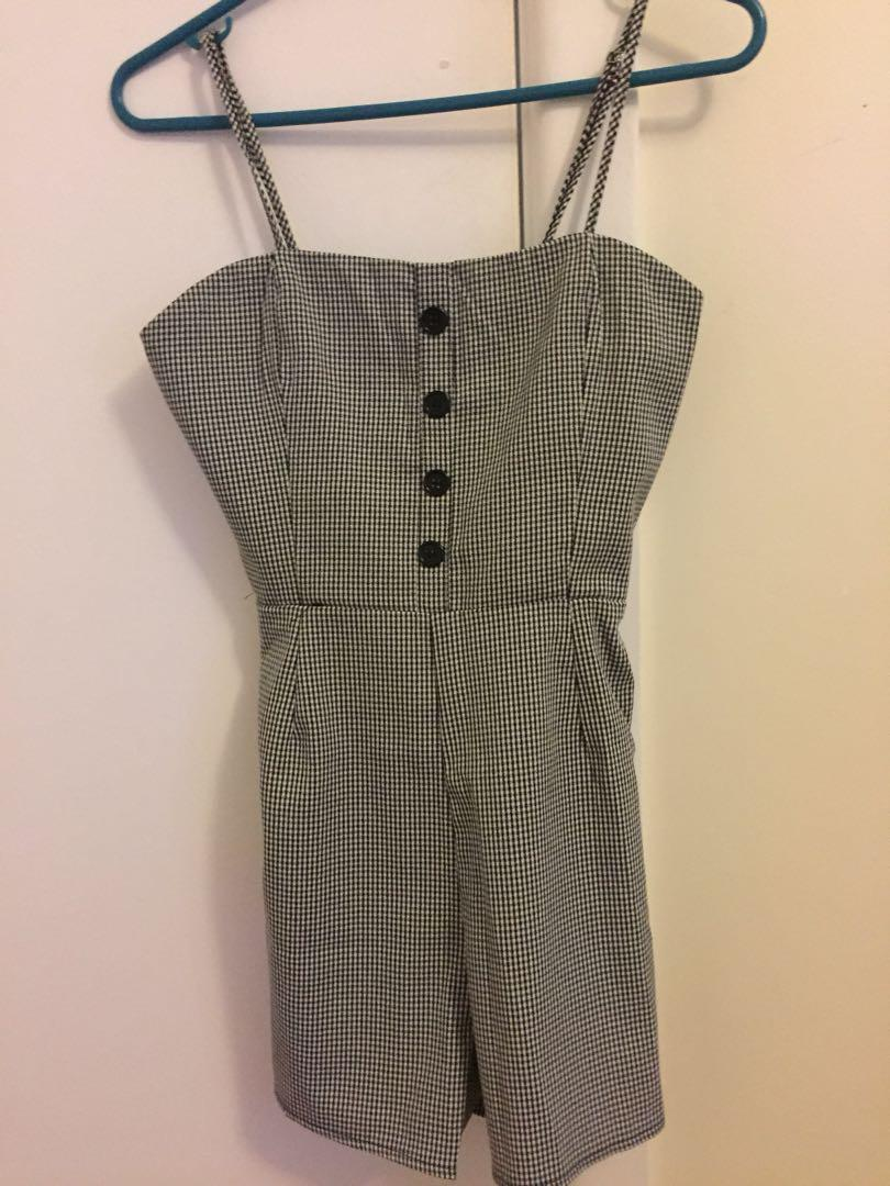 Black check jumpsuit/ playsuit