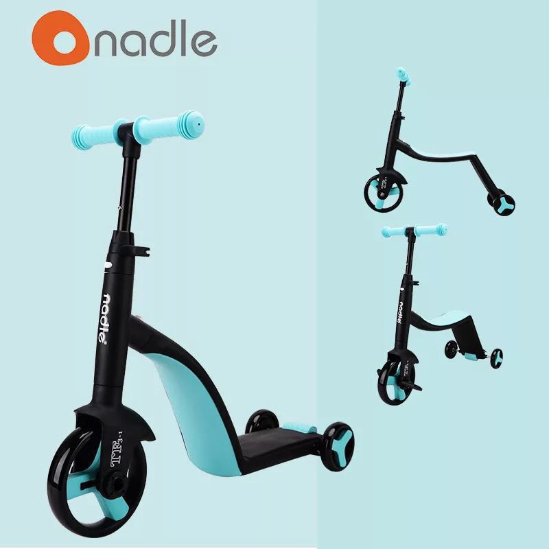 BRAND NEW NADLE Blue 3 In 1 Kids Scooter Baby Boy It Girls Balancing