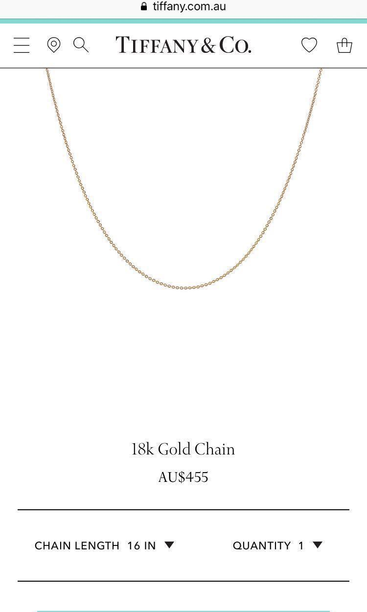 """Brand New Tiffany & Co. 18"""" 18k 750 Gold Chain Necklace"""