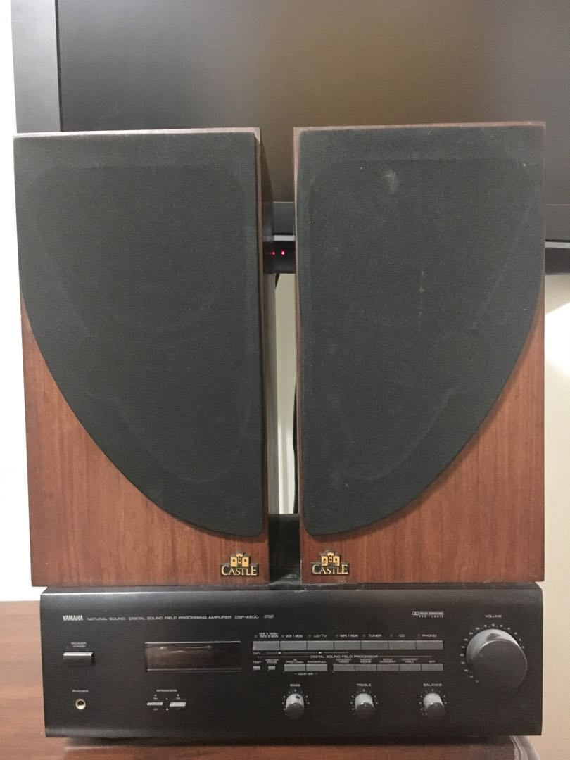 Castle Bookshelf Speakers With Yamaha Amplifier Electronics Audio On Carousell