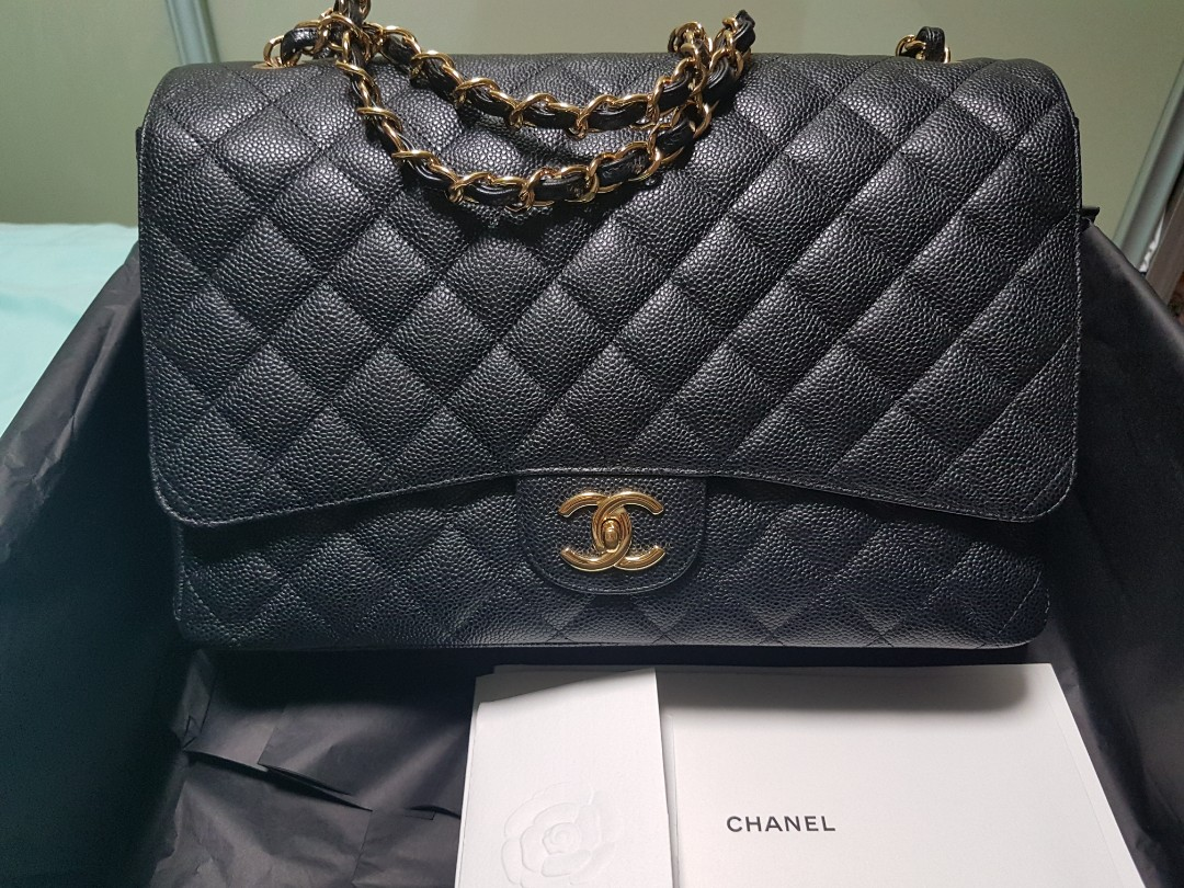 07393b7cd777 Chanel Maxi Classic Black Caviar Double Flap Bag, Luxury, Bags ...